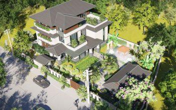 Thiết Kế Kiến Trúc Biệt Thự 3 Tầng Mái Thái, BT1234