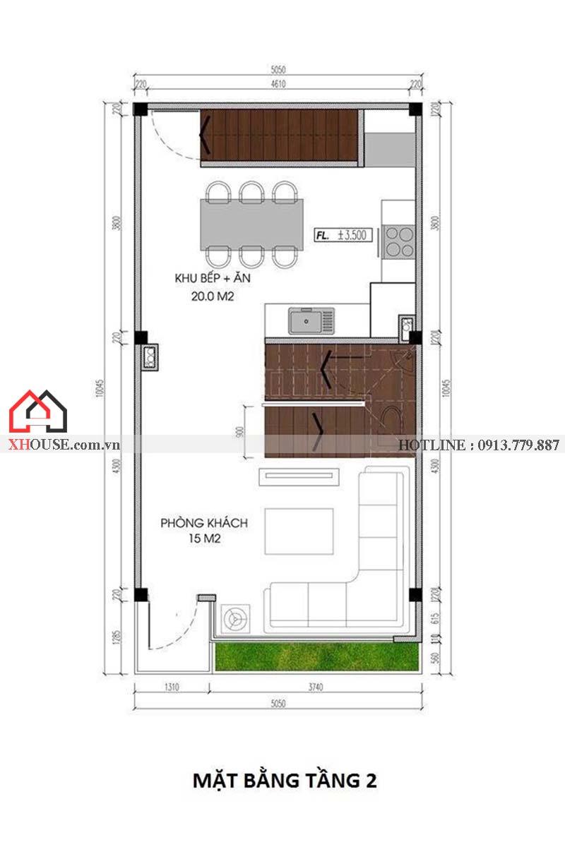 Mau Thiet Ke Nha Pho 50m2 4